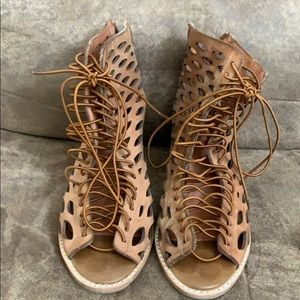 Jeffrey Campbell vintage lace up booties!!